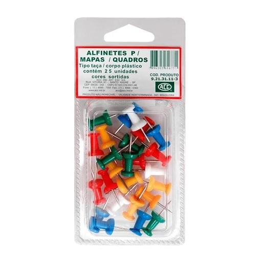 Alfinetes para Mapa Aço Niquelado Corpo Plástico Tipo Taça Sortidos C/ 25 unidades