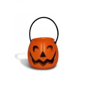 Balde Caldeirão Mini para Doces Abóbora Laranja Halloween Kids - Plastoy