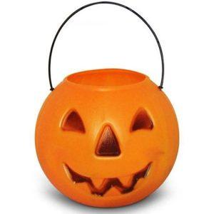 Balde Caldeirão para Doces Abóbora Laranja Halloween - Plastoy