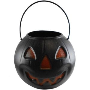 Balde Caldeirão para Doces Abóbora Preto Halloween - Plastoy