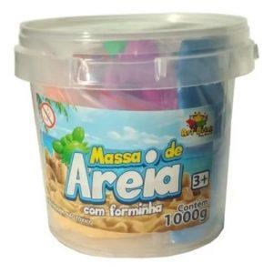 Balde Massa de Areia 1kg c/ 06 Forminhas - Art Brink