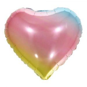 """Balão Metalizado Coração Arco-Íris18"""" 45cm Make+ 8540"""
