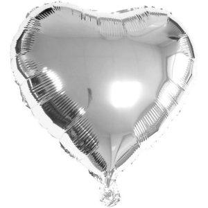 Balão Metalizado Coração Prata 20Cm C/3 Unidades 9528