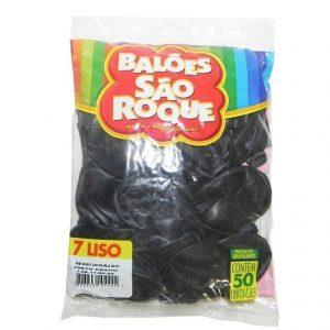 Bexiga Balão Preto Ebano Liso Número 07 - São Roque c/50 Unidades