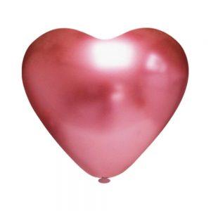 """Bexiga Coração Platino 10"""" Vermelha Pic Pic 25 Unidades"""
