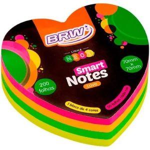 Bloco Adesivo Brw 70x70mm Love Coração Neon 100 Folhas BA7031