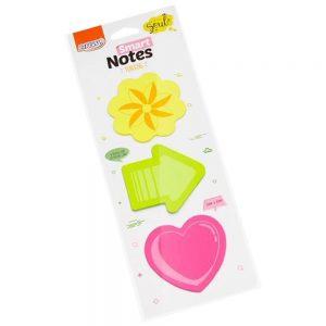 Bloco Adesivo Brw 70x70mm Smart Notes Tokens Seta Flor Coração 75 Folhas BA0302