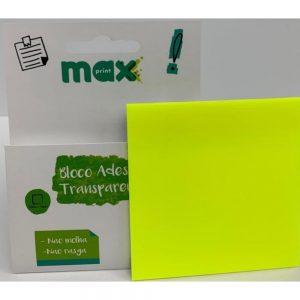 BLOCO ADESIVO MAXPRINT CLEARNOTE 76X76 50FLS AMARELO NEON TRANSPARENTE 744891
