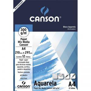 BLOCO CANSON DESENHO AQUARELA A4 BRANCO 300GRS 12FLS 66667180
