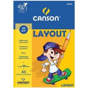 BLOCO CANSON LAYOUT A3 BRANCO 60GRS 50FLS 66667075