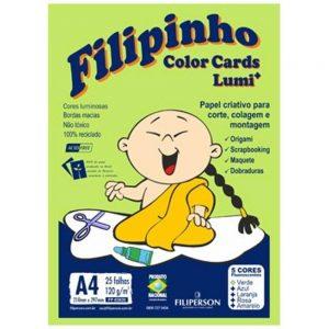 BLOCO CREATIVE FILIPERSON FILIPINHO LUMI CARDS A4 210X297MM 05 CORES 120GRS 25FLS 03820