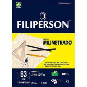 BLOCO MILIMETRADO FILIPERSON A4 210X297MM 63GRS 50FLS 01640