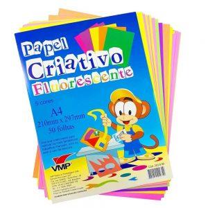 Bloco Para Educacao Artistica Fluorescente 5 cores A4 50f - VMP