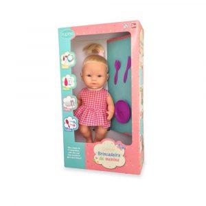 Boneca Em Vinil Brincadeira De Menina Papinha + Acessórios + 3 Anos
