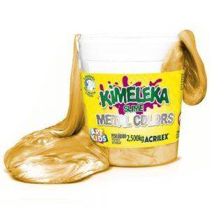 BRINQUEDO AMOEBA KIMELEKA SLIME METALICA ACRILEX OURO 2,5KG