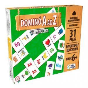 BRINQUEDO JOGO DOMINO MADEIRA DE A Z 31 PECAS +6 ANOS PAIS E FILHOS 2835