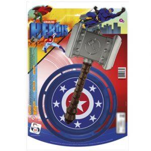 Brinquedo Kit Medieval Martelo + Escudo Pica Pau 689