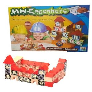 Brinquedo Mini Engenheiro 35 Peças em Madeira Big Boy 1768