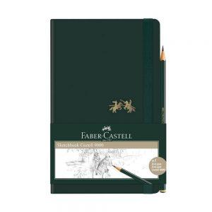 CADERNETA FABER CASTELL SKETCHBOOK CASTELL 9000 SEM PAUTA VERDE 84FLS + LAPIS CDNSKT/ME