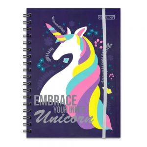 CADERNO 01X1 DERMIWIL CONTAINER BULLET UNICORNIO 80FLS 177X240MM 37799