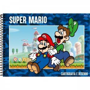 Caderno Cartografia Espiral Capa Dura Super Mario 96Fls Foroni 3394955