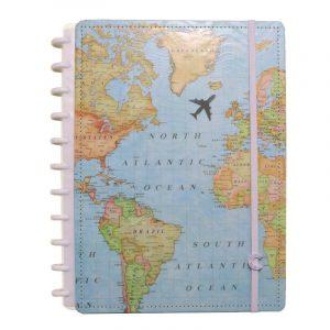 Caderno Inteligente Grande By Gogase Mapa Mundi 80 Folhas CIGD4095