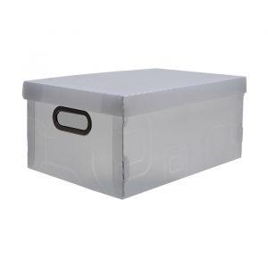 CAIXA DELLO ORGANIZADORA BOX MEDIA LINHO CRISTAL 380X290X185MM 2192H0005