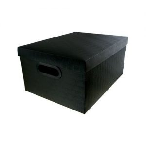 CAIXA DELLO ORGANIZADORA BOX MEDIA LINHO PRETO 380X290X185MM 2192P0005