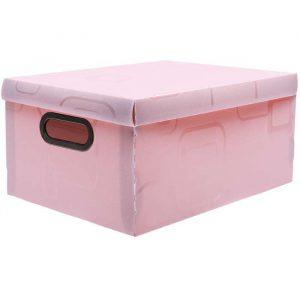 Caixa Organizadora Box Média Estampada Rosa Dello