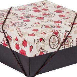 Caixa Presente Quadrada Média c/ Elásico Flexivel Parisiense Up Box 2165
