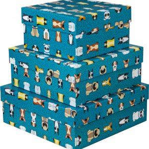 Caixa Presente Up box Quadrada Cachorrinhos Grande