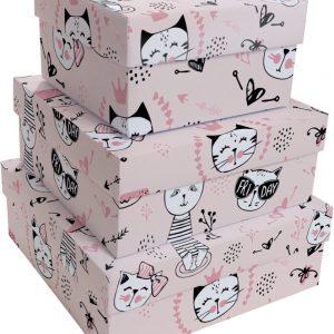 Caixa Presente Up box Quadrada Gatinhas Miau Pequena