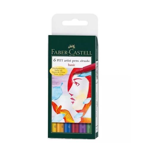 Caneta Artística Faber Castell Pitt 06 Cores Basicas 167103N