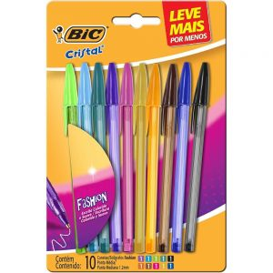 CANETA BIC CRISTAL KIT FASHION 1.2 10 CORES