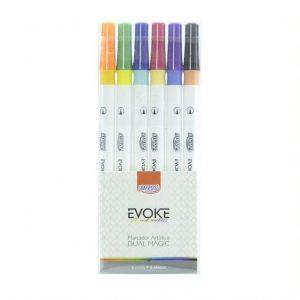 Caneta Brush Pen Brw Marcador Artisco Dual Magic C/06 Cores BP0400