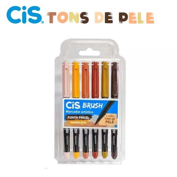 Caneta Cis Brush 06 Cores Tons de Pele Aquarelável