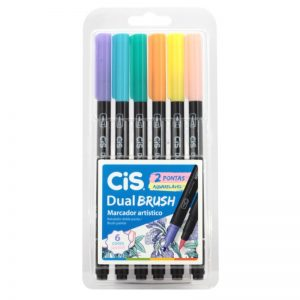 CANETA CIS DUAL BRUSH 2 PONTAS 6 CORES PASTEL AQUARELAVEL 580100