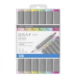 Caneta Cis Graf Duo Brush 06 Cores Tons Pastel