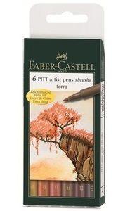 CANETA FABER CASTELL ARTISTICA PITT PENCIL SOFT BRUSH TONS TERRA 06 CORES 167106N