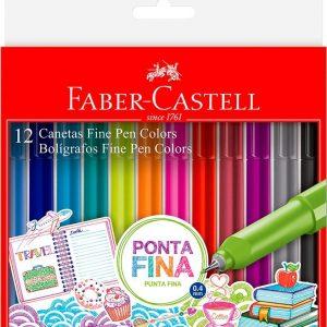 CANETA FABER CASTELL FINE PEN 0.4 12 CORES FPB/ES1ZF