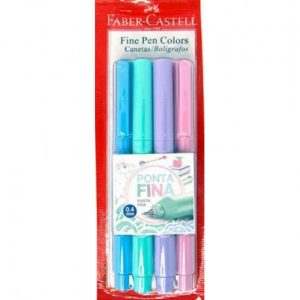 CANETA FABER CASTELL INDELEVEL FINE PEN 0.4 04 CORES PASTEIS FPB/TPZF