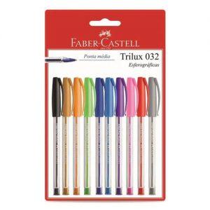 CANETA FABER CASTELL TRILUX MEDIUM 10 CORES SM/032ESC10