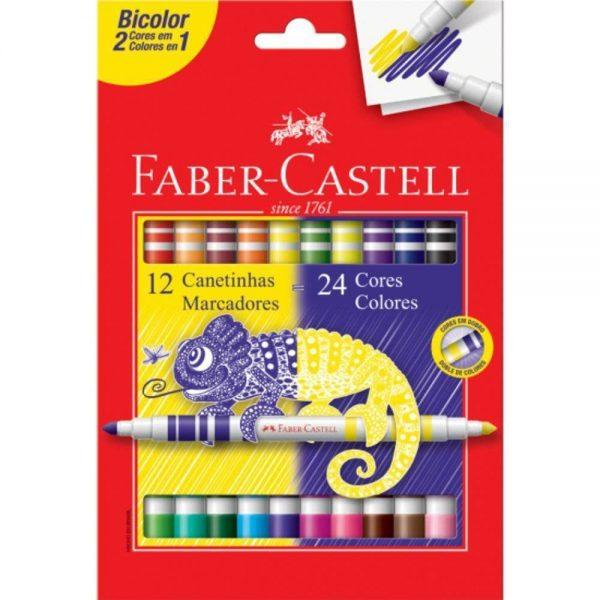 CANETA HIDROGRAFICA FABER CASTELL 12/24 CORES BICOLOR 150612N