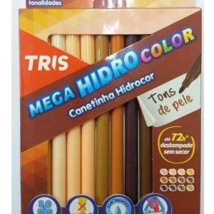 CANETA HIDROGRAFICA TRIS MEGA HIDRO COLOR PELE 12 CORES LAVAVEL 687728