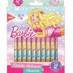 Caneta Hidrográfica 12 Cores Barbie Tris 643533