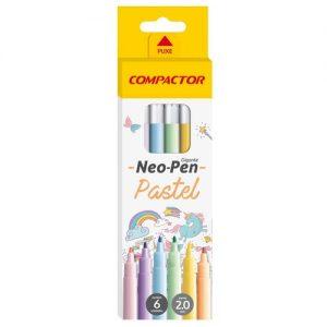 Caneta Hidrográfica 6 Cores Pastel Neo Pen Compactor