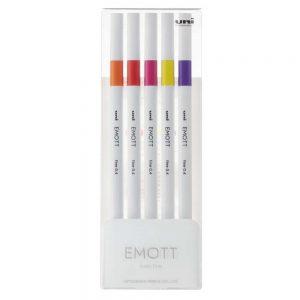 Caneta Hidrográfica Uni Emott N2 Passion Colors c/ 5 Cores