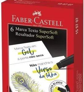 Caneta Marca Texto Faber Castell Gel SuperSoft Amarelo c/ 06 Unids 155707
