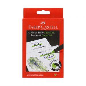 Caneta Marca Texto Faber Castell Gel SuperSoft Verde 155763 C/6 Unidades