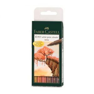 Canetas Pitt Faber-Castell 6 Cores Terra 167106N
